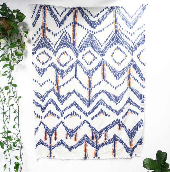Chevron Diamond Hand Painted Linen Throw or Wallpiece - Indigo & Tangerine