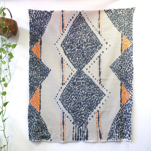 Diamond Heart Hand Painted Linen Throw or Wallpiece - Indigo & Tangerine