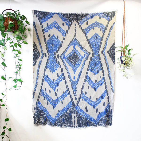 Diamond chevron - hand painted linen throw or wallpiece