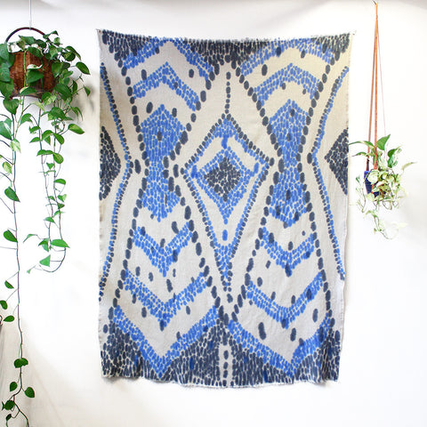 'Diamond chevron' - hand painted linen throw or wallpiece