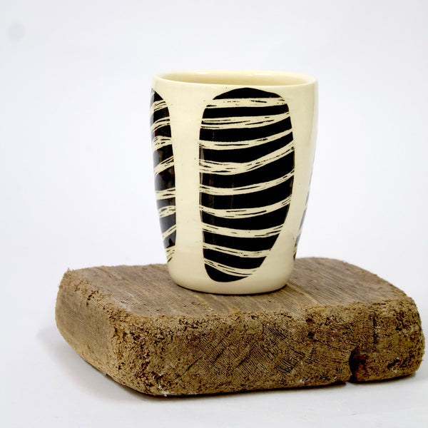 Masked Stripe Little Vase - Black & White