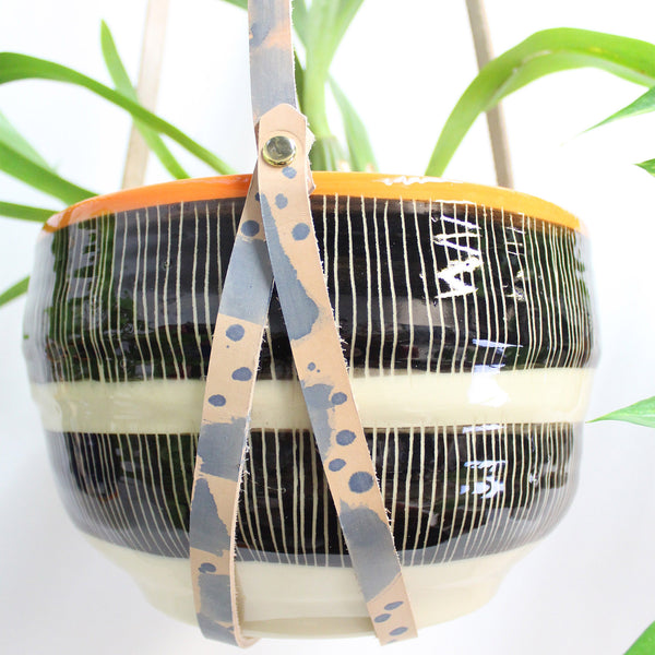 Indigo Spots & Dashes Leather Planter Hanger