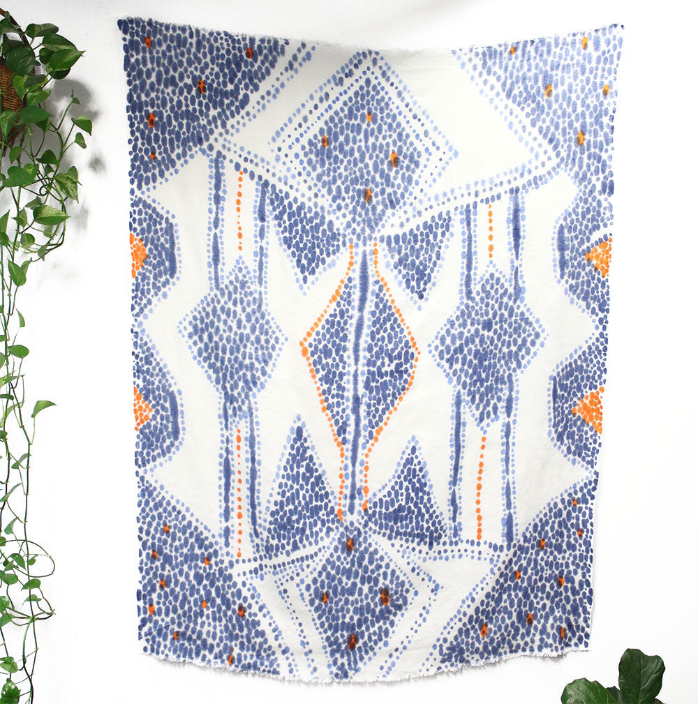 Masked Diamond Hand Painted Linen Throw or Wallpiece - Ultramarine & Tangerine
