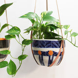 Peachy Spots & Dashes Leather Planter Hanger