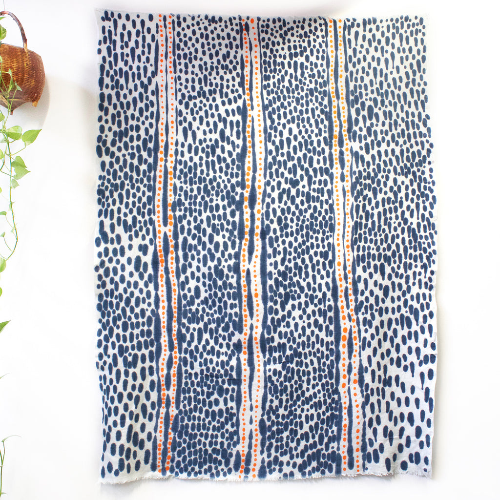 Spotted Path Hand Painted Linen Throw or Wallpiece - Indigo & Tangerine