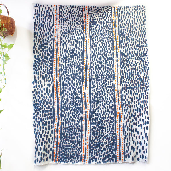 Spotted Path - Hand painted linen throw or wall hanging