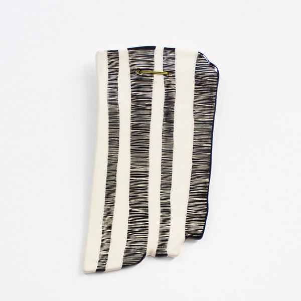 Ceramic wall piece - 'Stripey' organic edge