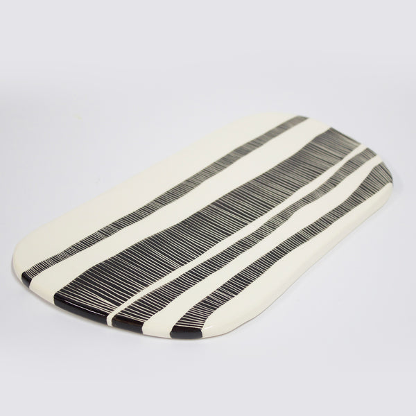 Ceramic Platter  - BW Stripey Road