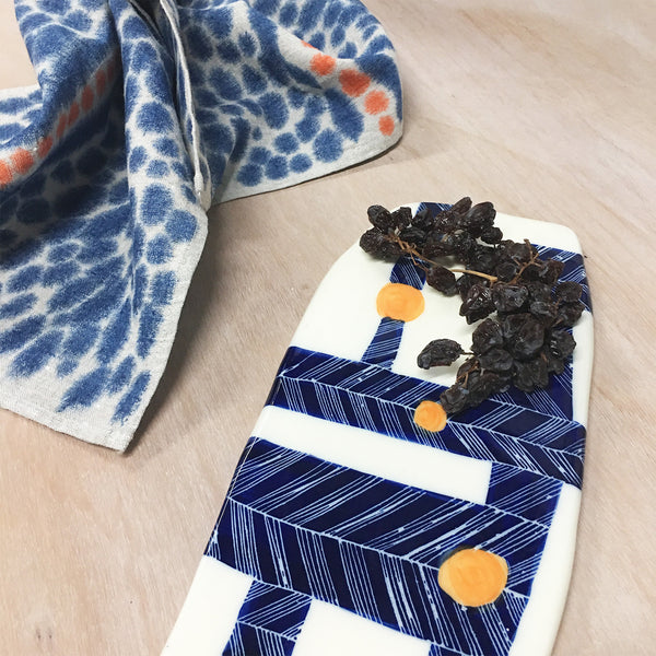 Crosshatch Ceramic Platter // Wallpiece - Navy & Tangerine
