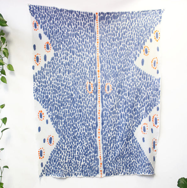 Tangerine Mask Hand Painted Linen Throw or Wallpiece - Indigo & Tangerine