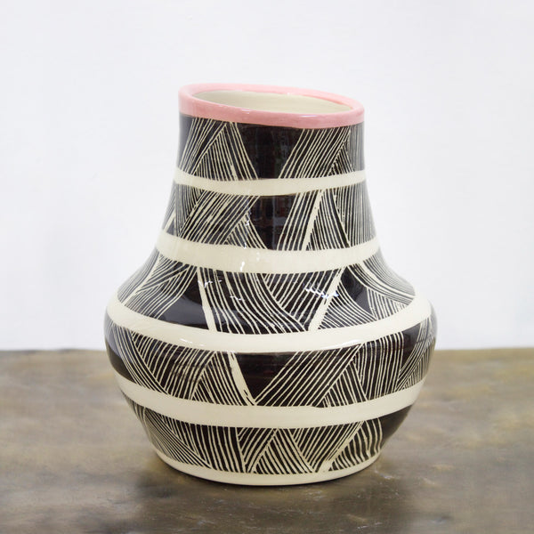 Linear Weave Organic Ceramic Vase - Dusty Pink