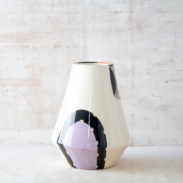 Sunset Pathways Angled Vase - Black, Nasturtium & Lilac