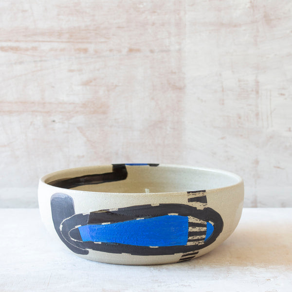Electric Pathways Platter - Black, Electric blue and Turquoise