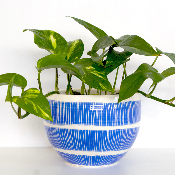 Stripey Road Large Bowl - Electric Blue