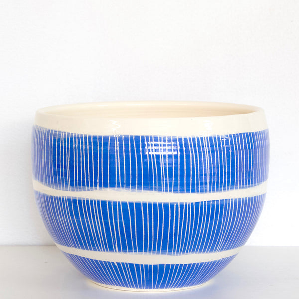 Stripey Road Big Bowl // Planter - Electric Blue