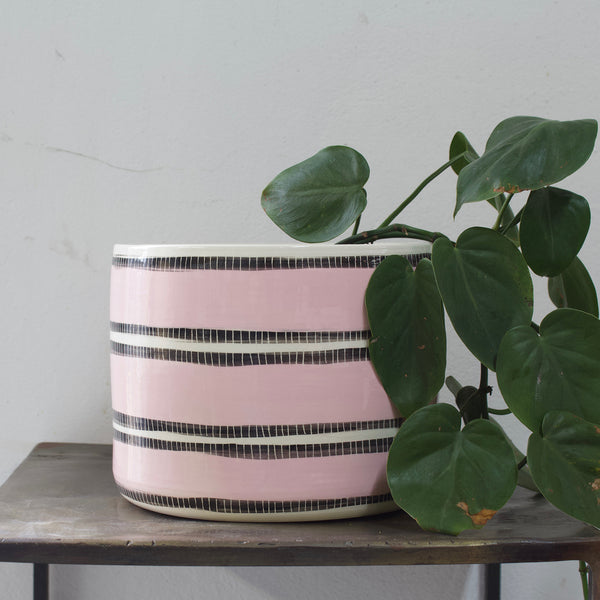 Stitched Up XXL Planter - Black & Dusty Pink