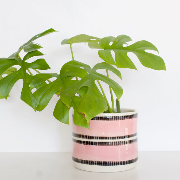 Stitched Up Large Planter - Black & Dusty Pink