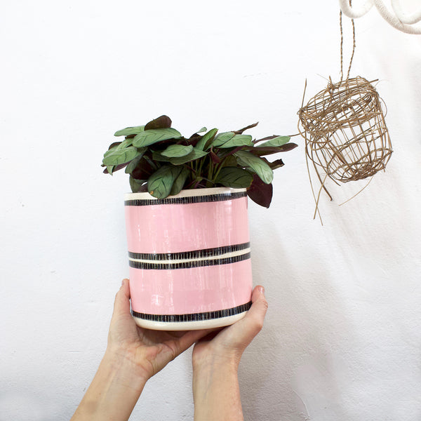 Stitched Up Big Planter L - BW & Dusty Pink