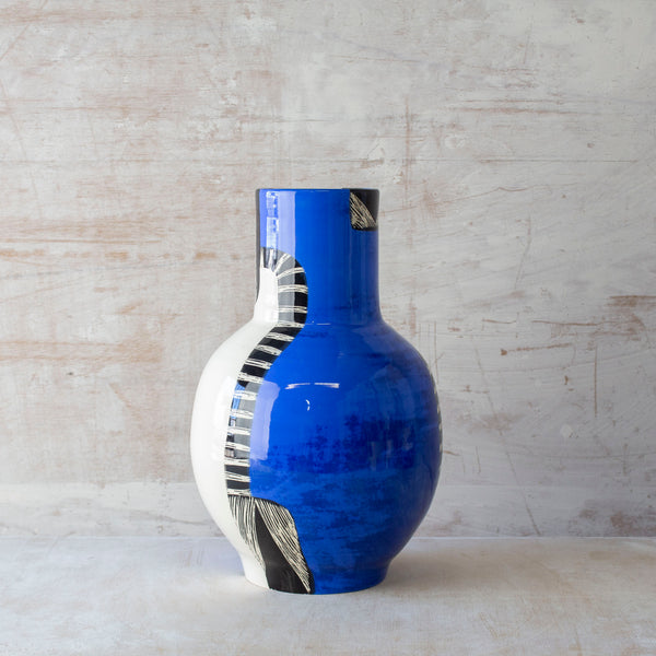 Electric Pathways Jumbo Bottle Vase - Black and Electric blue