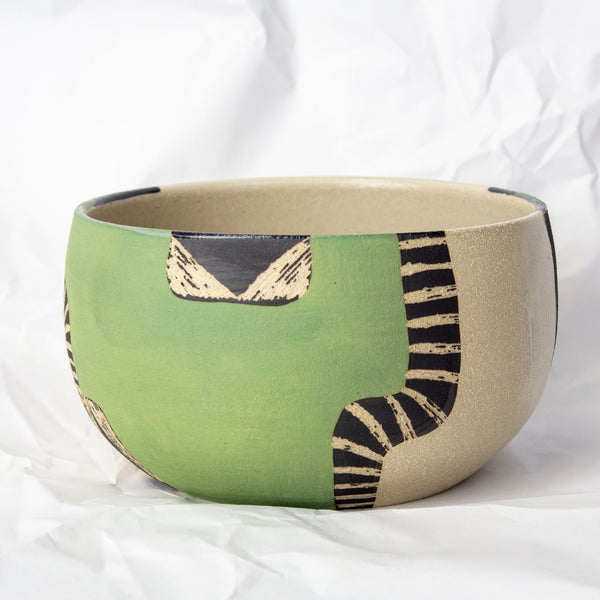 Moss Pathways Serving Bowl - Black, Moss and Forest Green