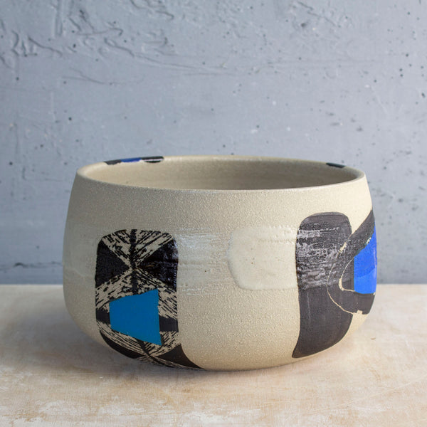 Electric Pathways Bowl - Black, Electric blue and Turquoise