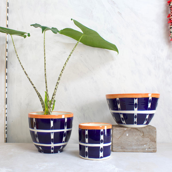 Vertical Tracks Large Bowl // Planter - Indigo & Nasturtium