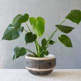 Textured Linear Stripe Lg Bowl // Planter - Black