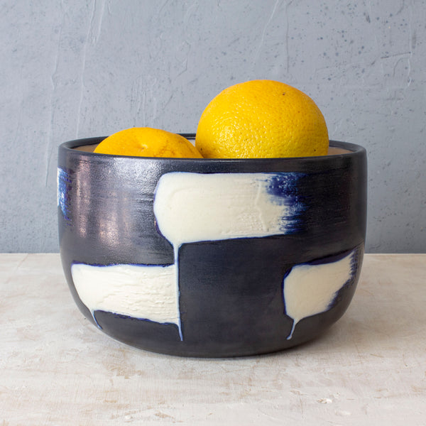 Slip Brushstroke Vessel - Blue Steel