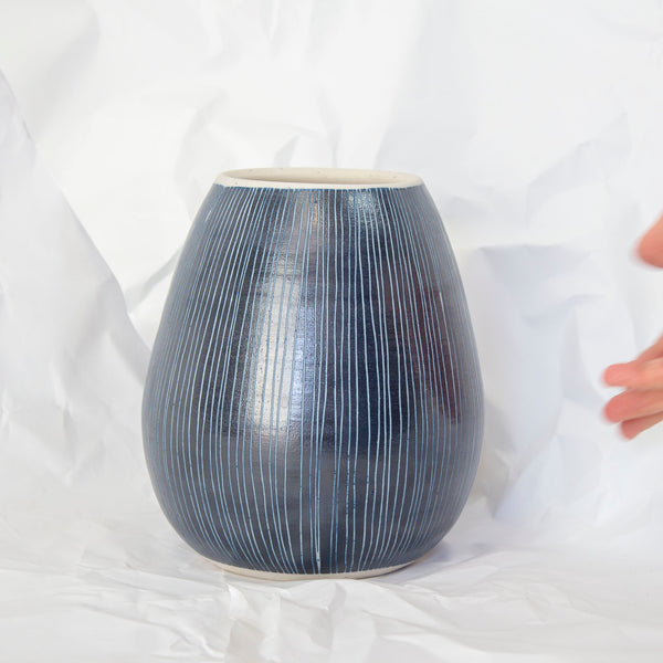 Blue Steel -  Bulbous Vase #3
