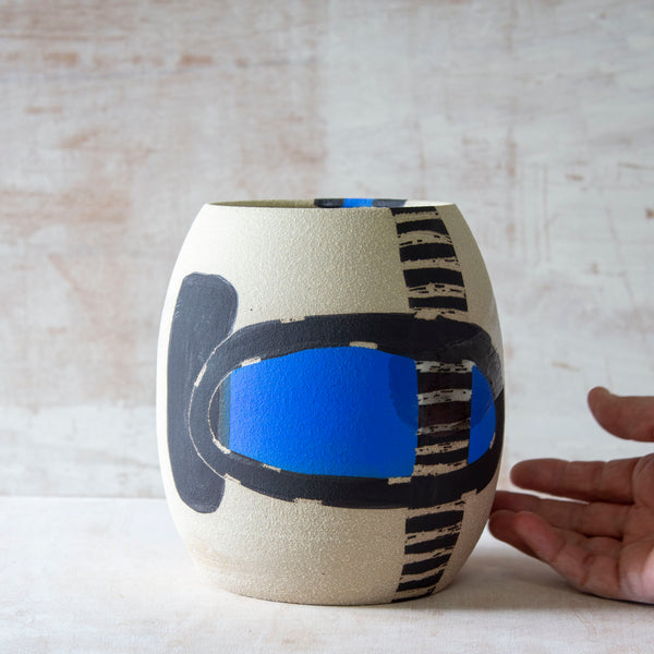 Electric Pathways Bulbous Vase - Black, Electric blue and Turquoise