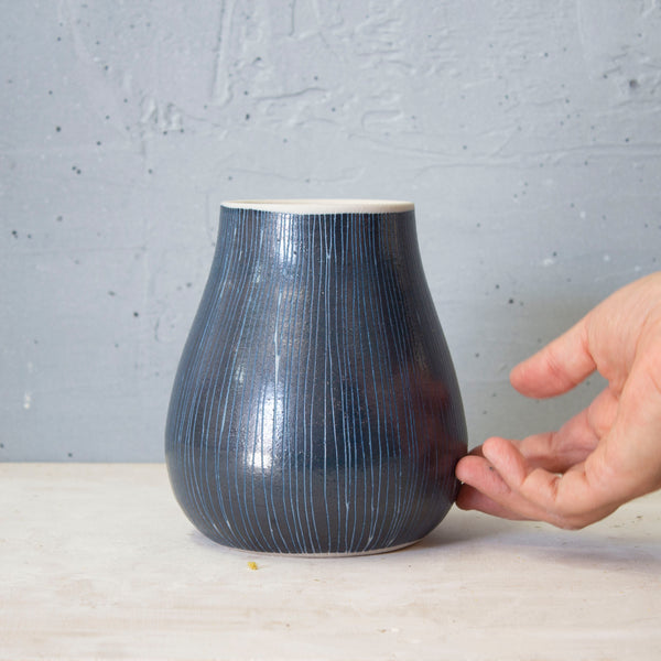 Blue Steel - Med Bulbous Vase #2