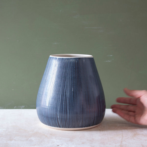 Blue Steel -  Bulbous Vase #5