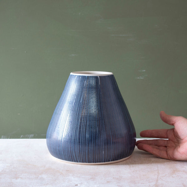 Blue Steel -  Bulbous Vase #6