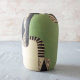 Moss Pathways Contoured Vase - Black, Moss and Forest Green
