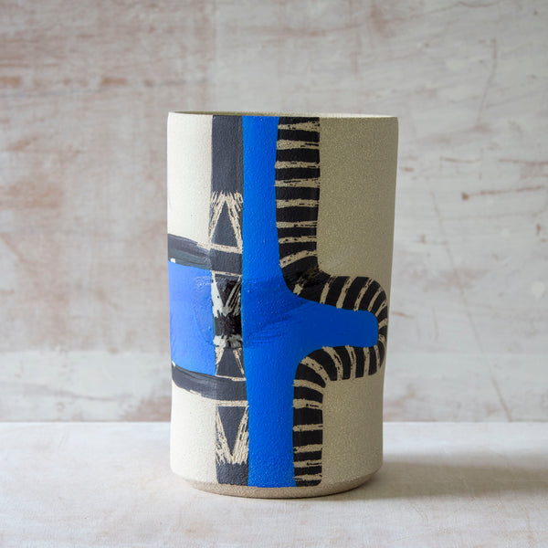 Electric Pathways Cylindrical Vase - Black, Electric blue and Turquoise