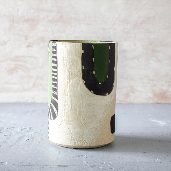 Moss Pathways Cylindrical Vase - Black, Moss and Forest Green
