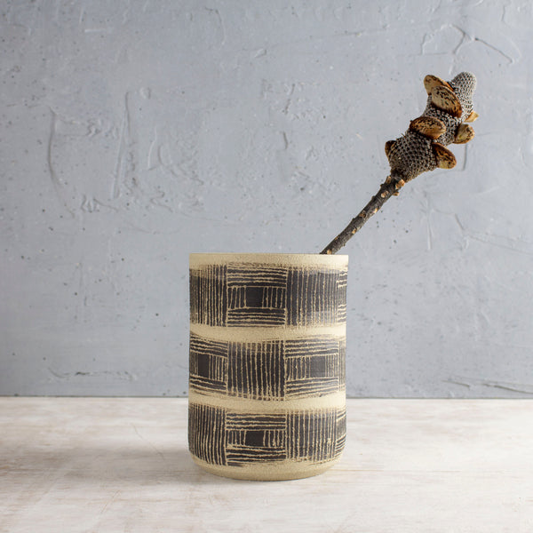Textured Linear Stripe - Cylindrical Vase