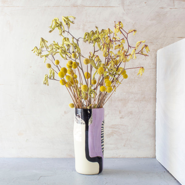 Looking Up distorted Vase - Lilac & Black