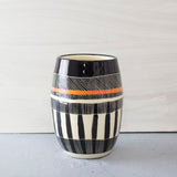 Textured Weave distorted Vase - Black & Nasturtium