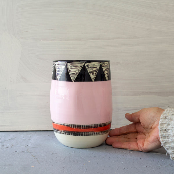 Tri Liquorice All Sorts distorted Vase - Black, Dusty Pink & Indian Red