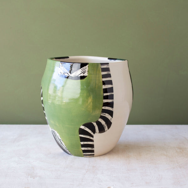 Moss Pathways Distorted Vessel - Black, Moss and Forest Green