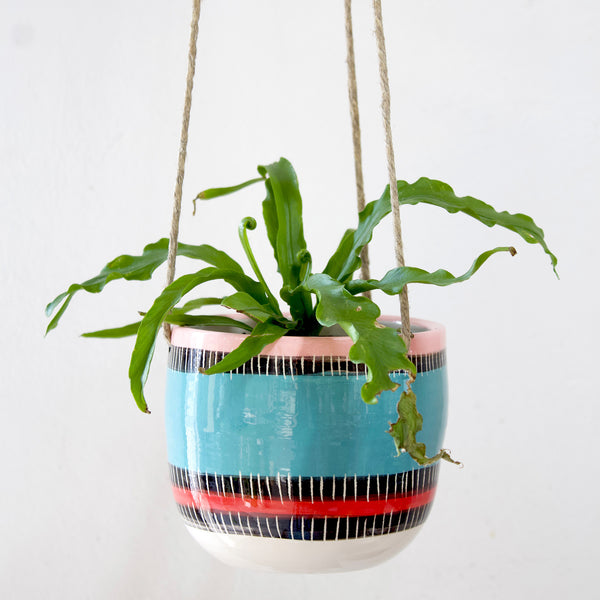 Liquorice All Sorts Little Hanging Planter - Lagoon, Galah & Indian Red