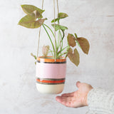 Liquorice All Sorts Medium Hanging Planter - Dusty Pink, Nasturtium, Indian Red