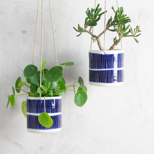 Double Stripe Medium Hanging Planter - Indigo