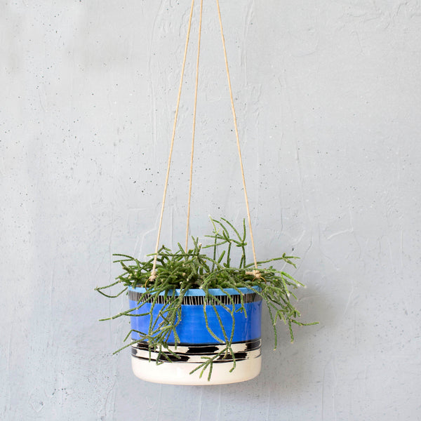 Blue Haze Large Hanging Planter - Electric Blue