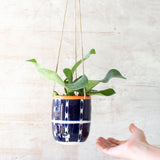 Vertical Tracks Medium Hanging Planter - Indigo & Nasturtium