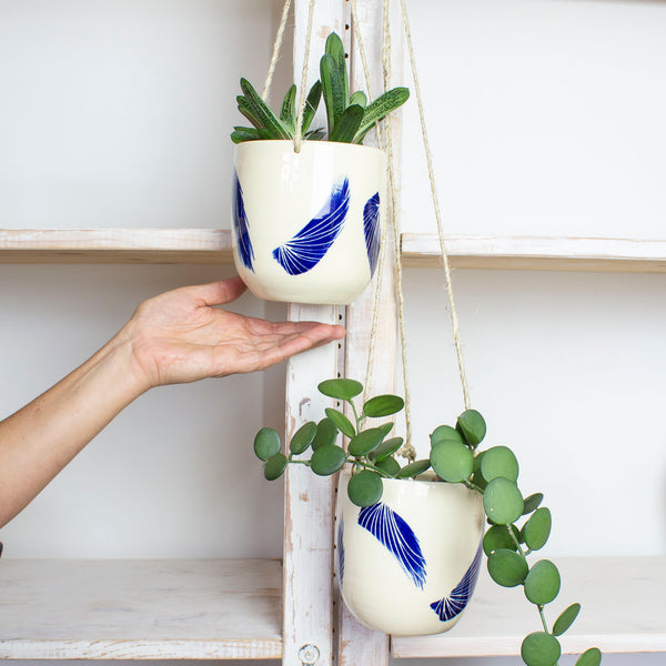 Linear Brush Med Hanging Planter - Indigo