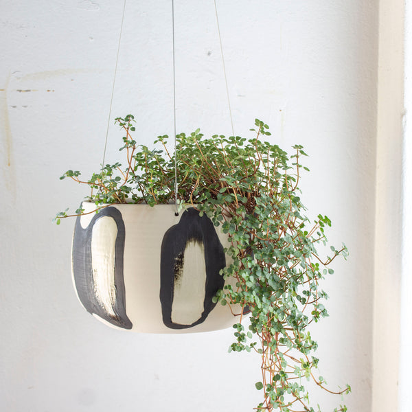 Elliptical Jumbo Hanging Planter  - Black