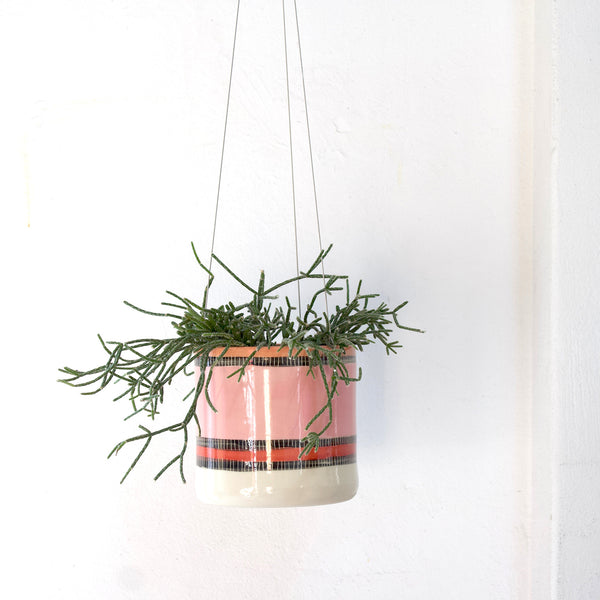 Liquorice All Sorts - Outdoor Jumbo Hanging Planter  - Dusty Pink, Nasturtium & Indian Red