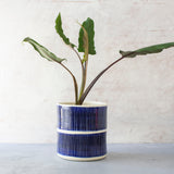 Stripey Road Jumbo Planter L - Indigo